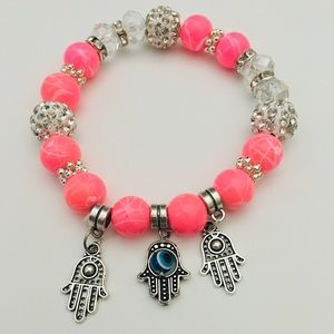 Neon Pink Hamsa Hand Stretch Bracelet